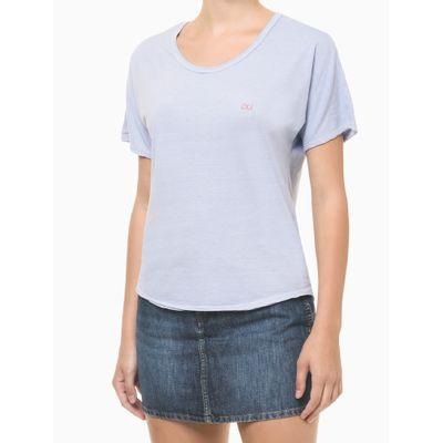 Blusa Feminina Slim Logo Costas Azul Clara Calvin Klein Jeans