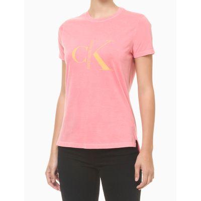 Blusa Feminina Estonada Logo Rosa Calvin Klein Jeans