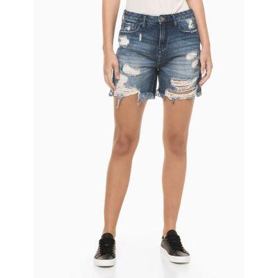 Bermuda Jeans Com Rasgos - Azul Marinho