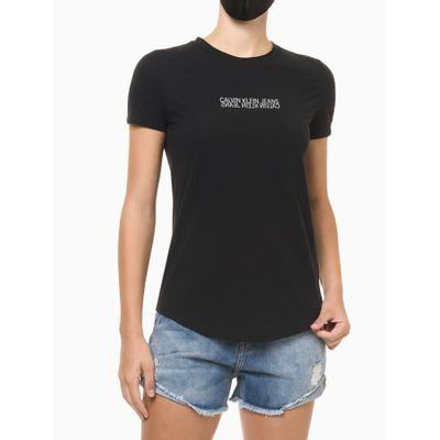 Blusa Feminina Estampa Logo Invertido Preta Calvin Klein Jeans