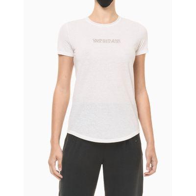 Blusa Feminina Estampa Logo Invertido Branca Calvin Klein Jeans