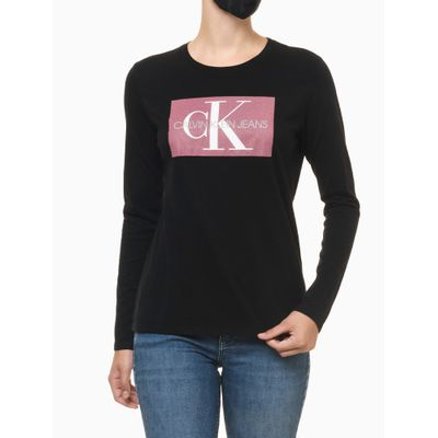 Camiseta Ml Ckj Fem Re Issue Retangulo - Preto