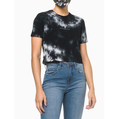 Camiseta Cropped Tie Dye Com Logo - Preto