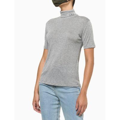 Blusa Feminina Básica Tricot Cinza Calvin Klein