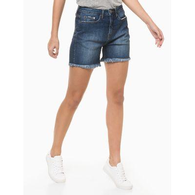 Bermuda Jeans Five Pockets Barras À Fio - Azul Marinho