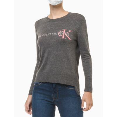 Blusa Tricot Ml Reg Gc Logo Calvin Klein - Chumbo