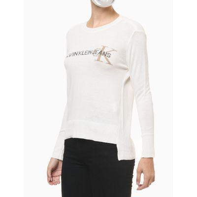 Blusa Tricot Ml Reg Gc Logo Calvin Klein - Nude