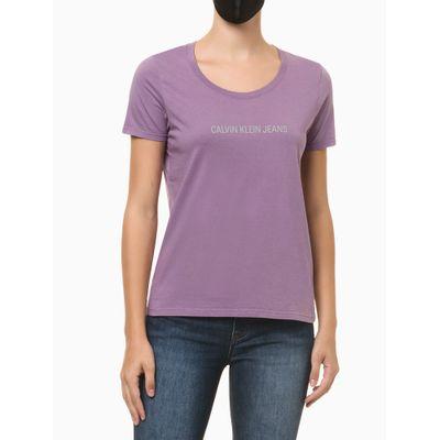 Blusa Feminina Slim Logo Centralizado Roxa Calvin Klein Jeans