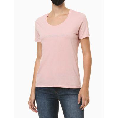 Blusa Feminina Slim Logo Centralizado Rosa Claro Calvin Klein Jeans