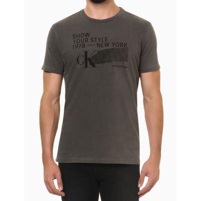 Camiseta Mc Regular Silk Meia Pig Gc - Chumbo