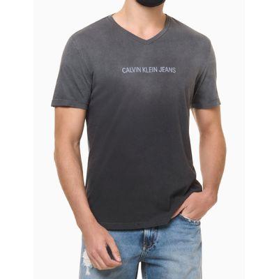 Camiseta Masculina Gola V Degradê Preta Calvin Klein Jeans