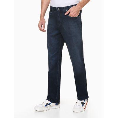 Calça Jeans Masculina Five Pockets Reta Relaxed com Stretch Cintura Alta Azul Marinho Calvin Klein