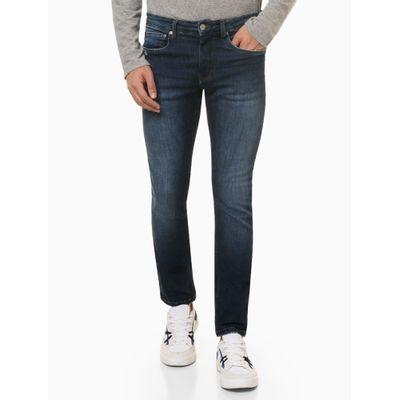 Calça Jeans Masculina Five Pockets Skinny com Stretch Bolso com Puídos Cintura Baixa Azul Marinho Médio Calvin Klein