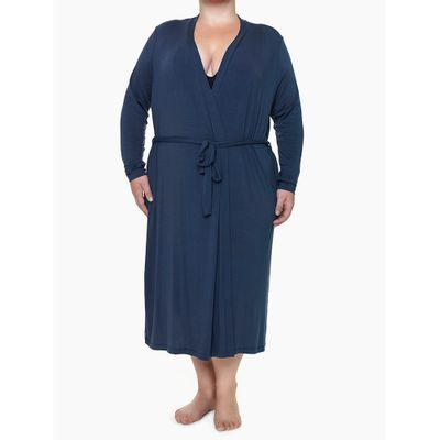 Robe Ml Viscolight Plus Size - Azul Marinho