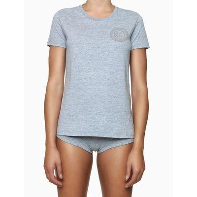 Camiseta Fem Gola Careca Alg Icon Cotton - Cinza Mescla