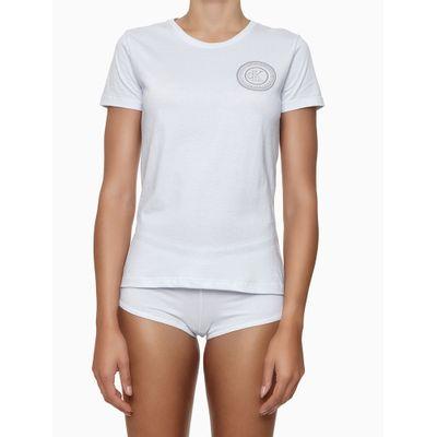 Camiseta Fem Gola Careca Alg Icon Cotton - Branco