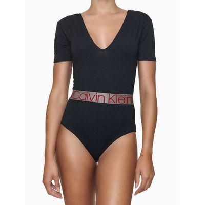 Body Feminino Gola V Faixa Logo na Cintura Preto Calvin Klein