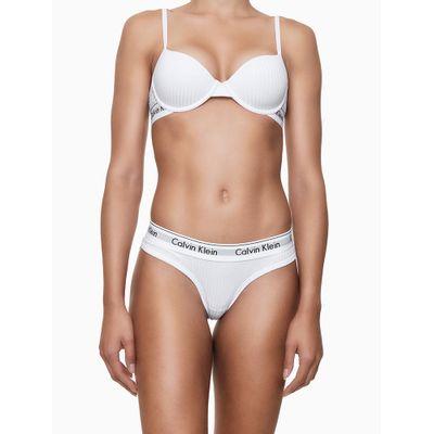 Calcinha Tanga Canelada e Renda Atrás Branca Underwear Calvin Klein