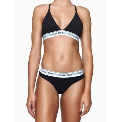 Top Sutiã Triângulo Canelado e Renda Atrás Preto Underwear Calvin Klein