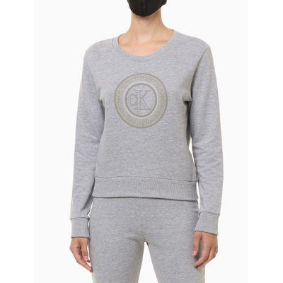 Blusão Cropped Moletom Icon Cotton Loung - Cinza Mescla