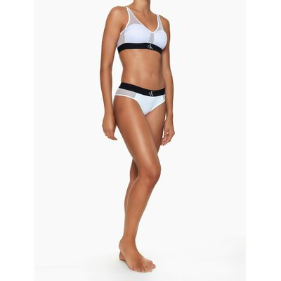 Top Sutiã Triângulo com Bojo e Tule Branco Underwear Calvin Klein