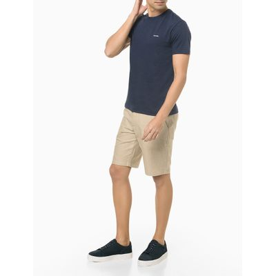 Camiseta Masculina Slim Minimalista Flamê Azul Marinho Calvin Klein