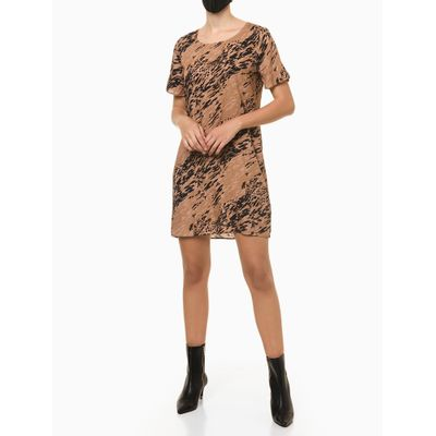 T-Shirt Dress Estampado Classical Animal - Cáqui