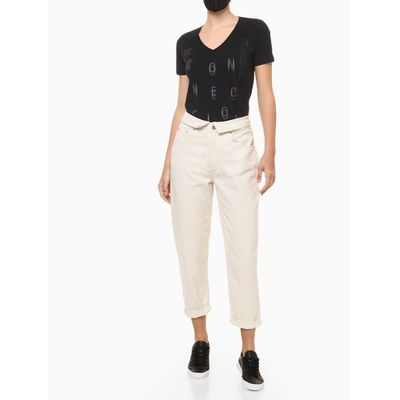 Blusa Feminina Slim Estampa Connection Preta Calvin Klein Jeans