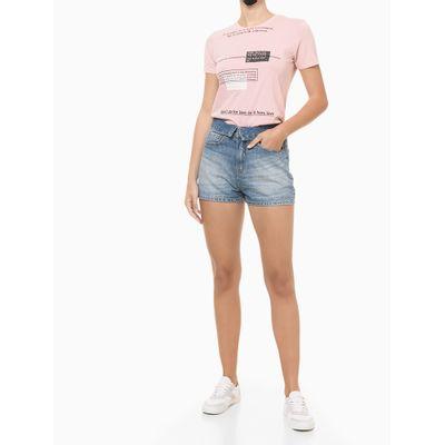 Blusa Feminina Slim Estampa Some Days Rosa Claro Calvin Klein Jeans
