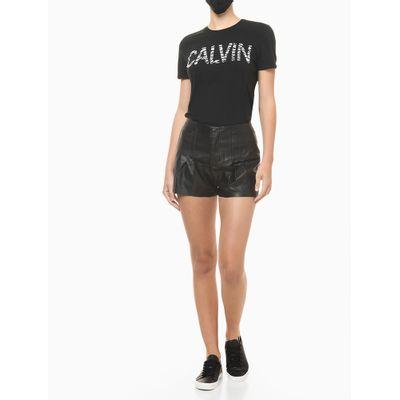 Blusa Feminina Slim Logo Zebra Preta Calvin Klein Jeans