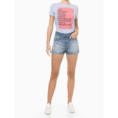 Blusa Feminina Slim Estampa Sucess Azul Claro Calvin Klein Jeans