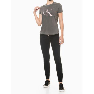 Blusa Feminina Estonada Logo Preta Calvin Klein Jeans