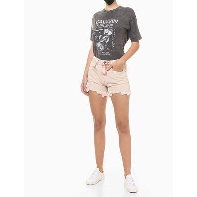 Shorts Color C/ Barra Desf E Puída - Rosa