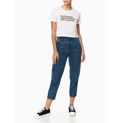 Camiseta Feminina Cropped Estampa Nice is The New Cool Branca Calvin Klein