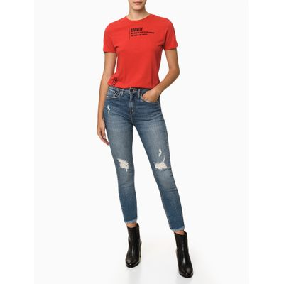 Camiseta Mc Mm Estampa Espalhada - Vermelho