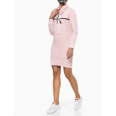 Vestido De Moletom Estonado Com Gola - Rosa Claro