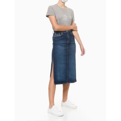 Saia Jeans Midi Aberturas Laterais - Azul Marinho
