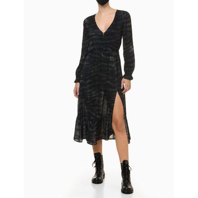 Vestido Midi Zebra Cimento Queimado - Preto
