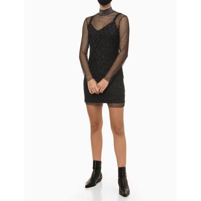 Vestido De Tela De Lurex - Preto