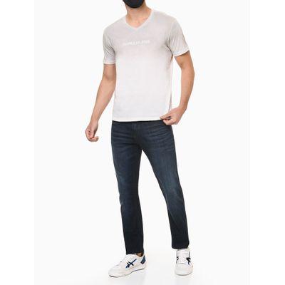 Calça Jeans Masculina Reta com Stretch Cintura Regular Azul Marinho Calvin Klein