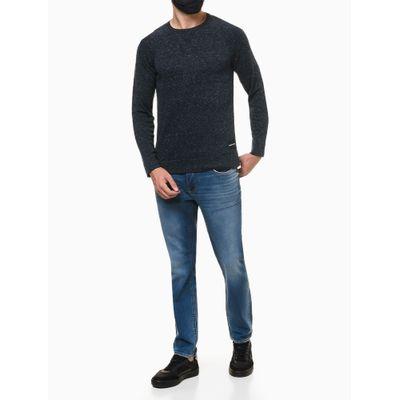 Calça Jeans Masculina Five Pockets Skinny com Stretch Cintura Baixa Azul Médio Calvin Klein