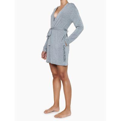 Pijama Feminino Robe Logo Lateral Manga Longa Cinza Mescla Calvin Klein