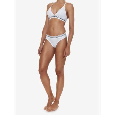 Top Sutiã Triângulo Canelado e Renda Atrás Branco Underwear Calvin Klein