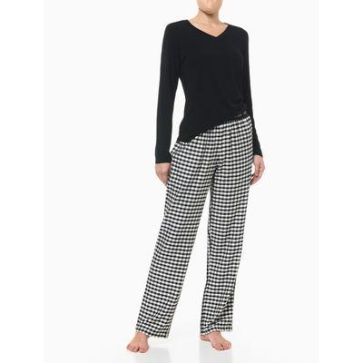 Pijama M/L E Calça De Viscose Xadrez Fem - Preto