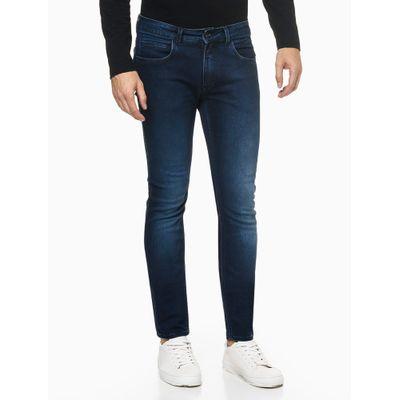 Calça Jeans Masculina Super Skinny Five Pockets Estonada Azul Marinho Calvin Klein