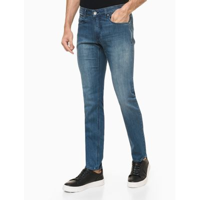Calça Jeans Masculina Skinny Five Pockets Escovada Azul Marinho Calvin Klein