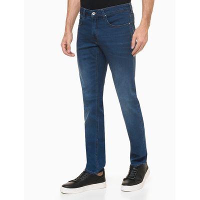 Calça Jeans Masculina Skinny Five Pockets Estonada Azul Médio Calvin Klein