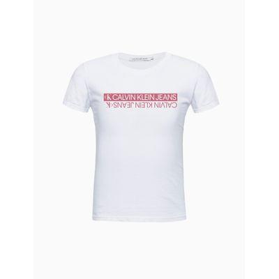 Blusa Manga Curta Logo Espelhado - Branco