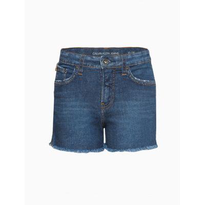 Shorts Jeans Five Pockets Fenda Lat - Azul Médio
