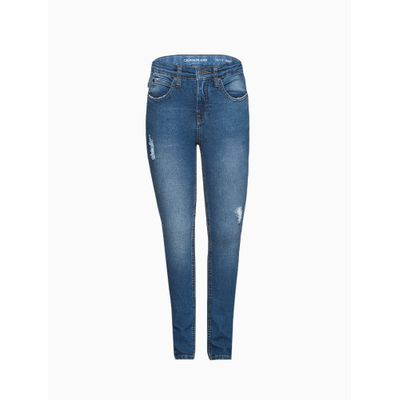 Calça Jeans Five Pockets Peq. Puídos - Azul Médio